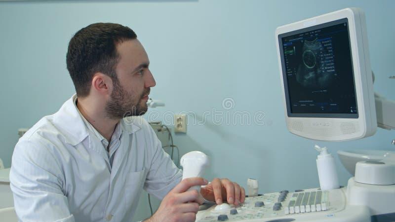Starker männlicher Doktor, der Ultraschallscan-Ergebnisse betrachtet stockfotos