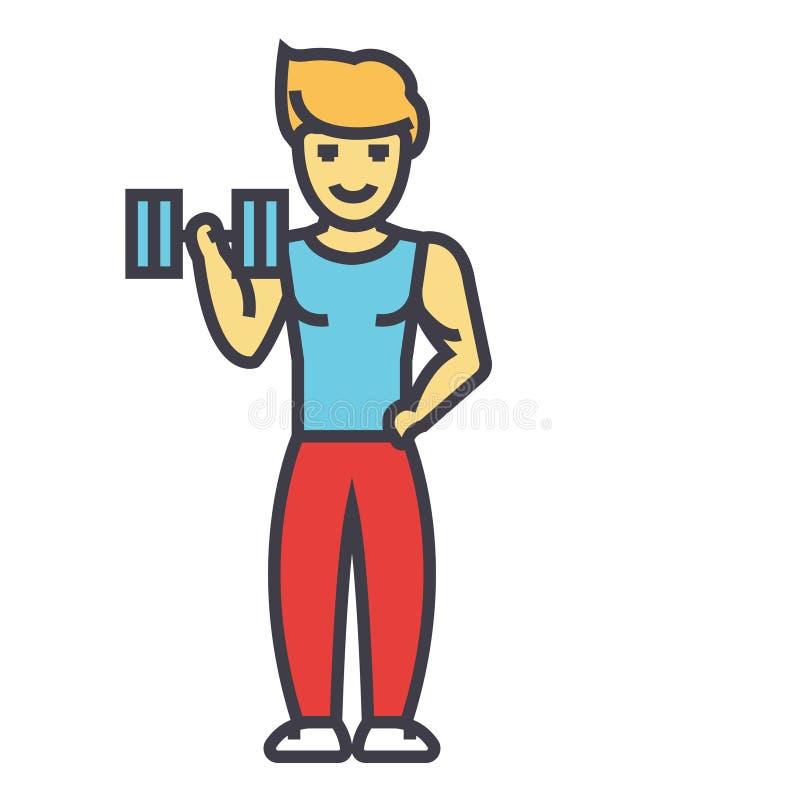 Starker Mann, der Übungen mit Gewichten im Turnhallenkonzept tut lizenzfreie abbildung