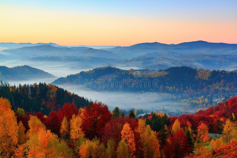 Starker Nebel, wie Milch, bedeckte das Tal, hinter dem Aufstiegsberge lizenzfreie stockbilder