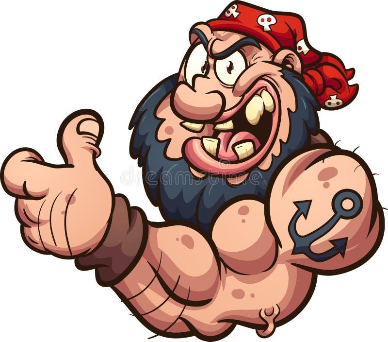 Starker Pirat oder Radfahrer der Karikatur, welche die Daumen aufgeben lizenzfreie abbildung