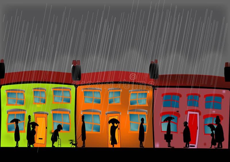 Starker Regen in einer englischen Straße lizenzfreie abbildung