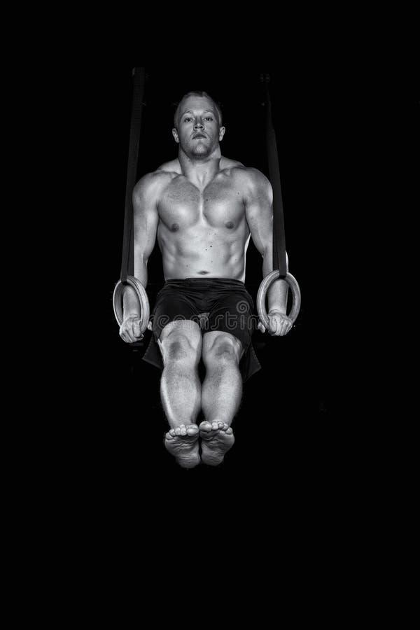 Starker sexy Gymnast arbeitet an den Ringen stockbild