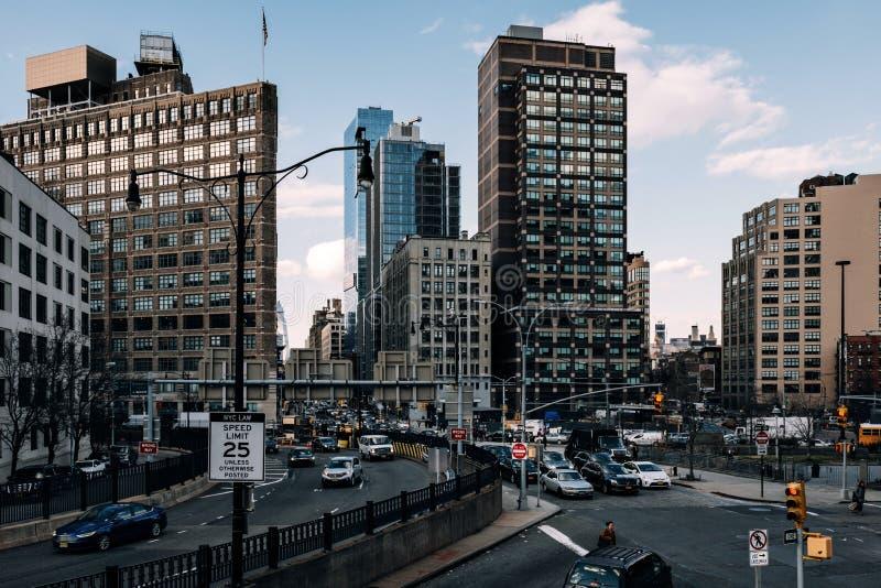 Starker Verkehr an der Hauptverkehrszeit des Eingangs Holland-Tunnels in Tribeca-Lower Manhattan lizenzfreie stockfotografie