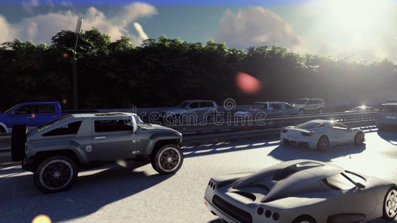 Starker Verkehr in der Stadt tagsüber Autos, welche morgens die Stadt kommen Wiedergabe 3d stock abbildung