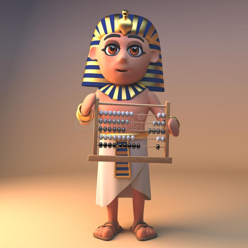 Starkes ägyptisches Pharao Tutankhamen, der einen Abakus, Illustration 3d verwendet lizenzfreie abbildung