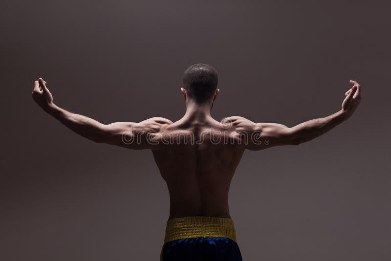 Starkes athletisches bemannt zurück lizenzfreie stockfotos