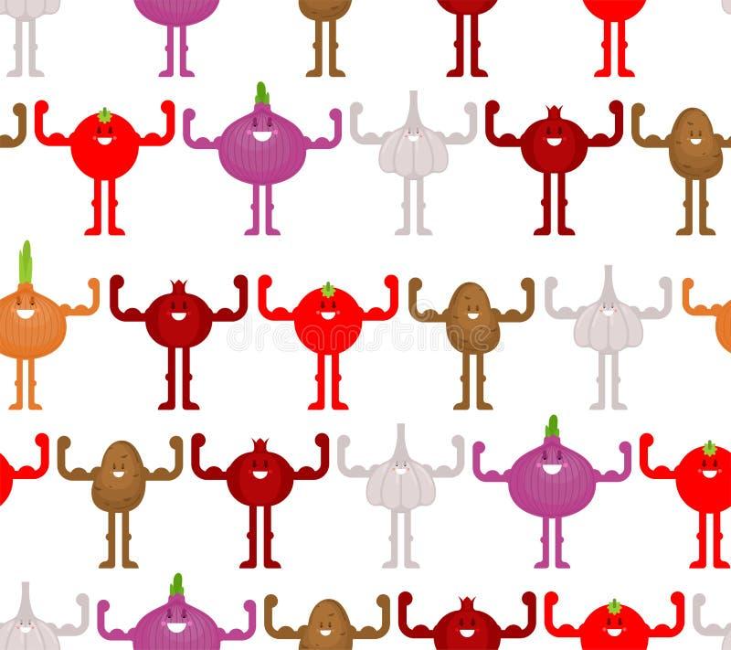 Starkes Gemüsemuster nahtlos Pfeffer, Karotte, Mais und cabbadge Starke Tomate und Knoblauch Zwiebel und Kartoffel Der Stoff der  stock abbildung