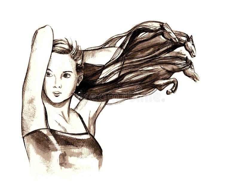 starkes haar stock abbildung illustration von kunst