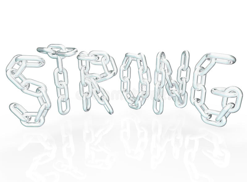 Starkes Kettenlink-Wort bezeichnet Metallketten mit Buchstaben stock abbildung