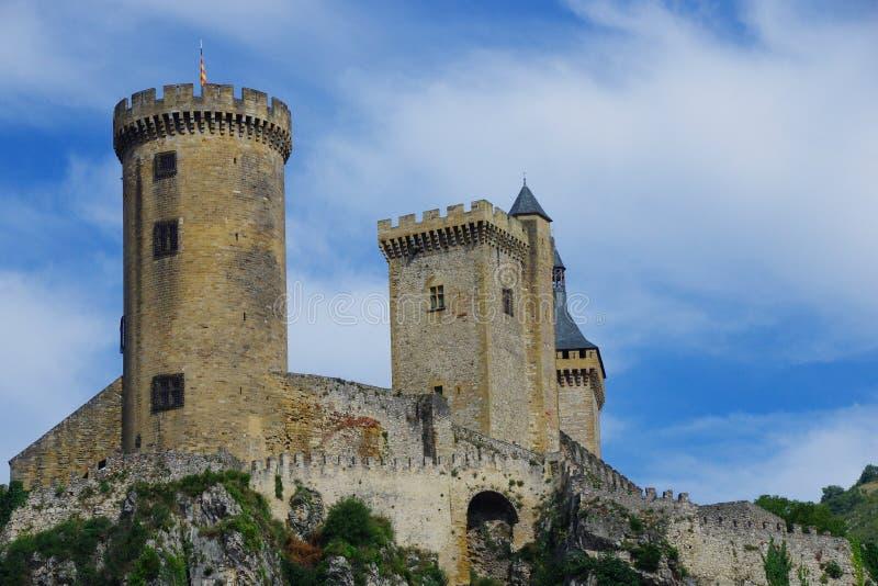 Starkes Schloss der Mittelalter Foix u. x28; France& x29; , wird sehr gut konserviert lizenzfreie stockfotos