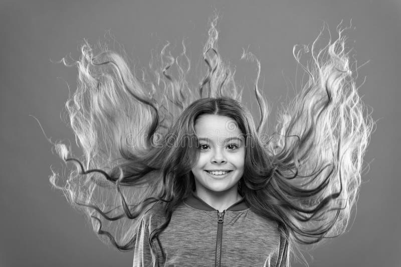 Starkes und gesundes Haarkonzept Wie man gelocktes Haar behandelt Nette und saubere Frisur Einfache Spitzen, die Frisur f?r Kinde stockfoto