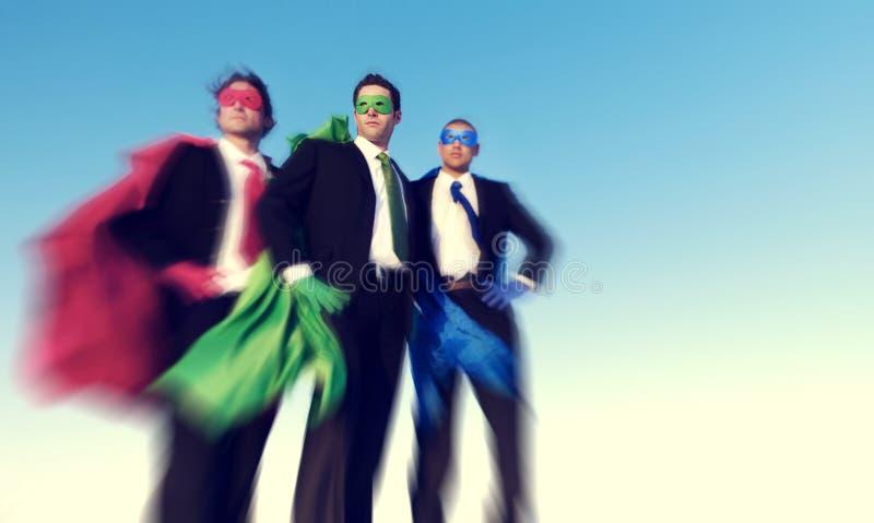 Starkt begrepp för framgång för förtroende för Superheroaffärsambitioner arkivbilder