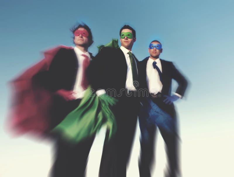Starkt begrepp för framgång för förtroende för Superheroaffärsambitioner royaltyfria foton