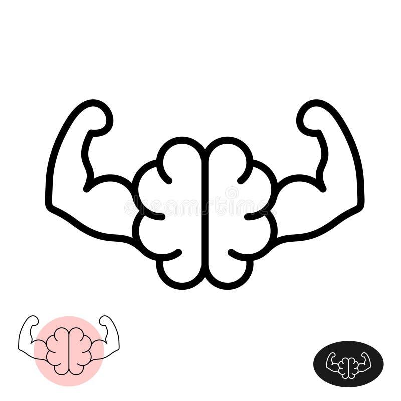 Starkt hjärnkoncept Hjärna i linjeformat med muskelarm royaltyfri illustrationer