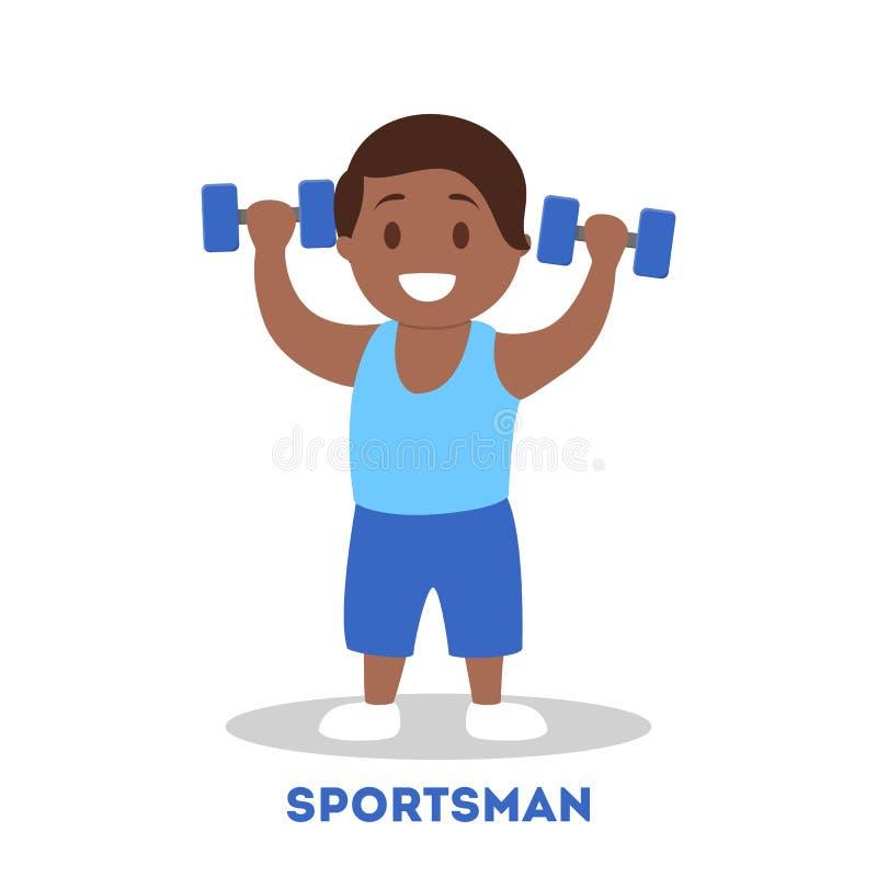 Starkt idrotts- barn med hanteln Ungeidrottsman stock illustrationer