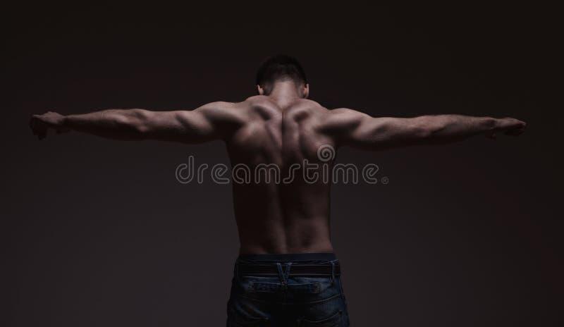 Starkt idrotts- mans tillbaka på mörk bakgrund fotografering för bildbyråer