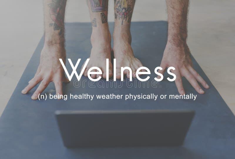 Starkt kraftigt begrepp för respektabel kondition för Wellness sund arkivbild