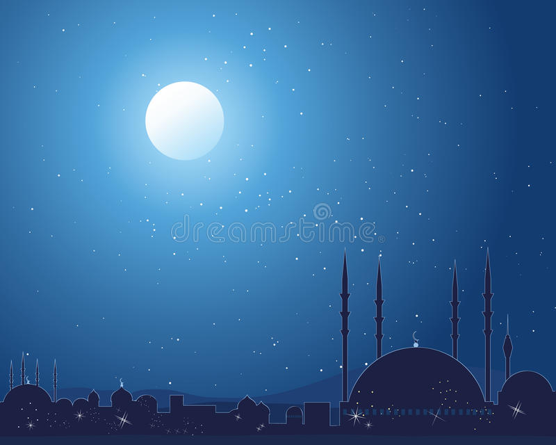 Starlit mosque. An illustration of a silhouette asian skyline with traditional buildings and mosque under a starlit sky royalty free illustration