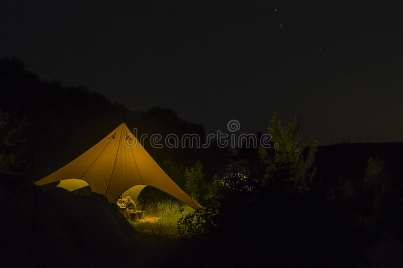 Starlit night in camp royalty free stock image