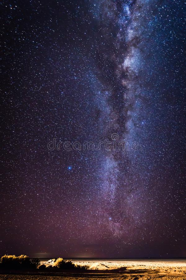 Starlit sky over Eduardo Avaroa National Park, Bolivia royalty free stock images