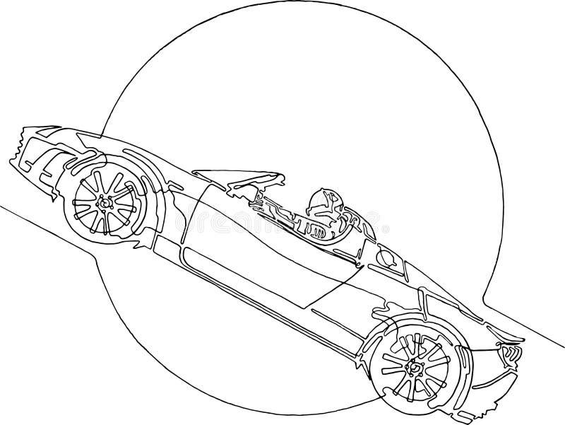Starman astronauta na kabriolecie w przestrzeni, ciągła linia ilustracji