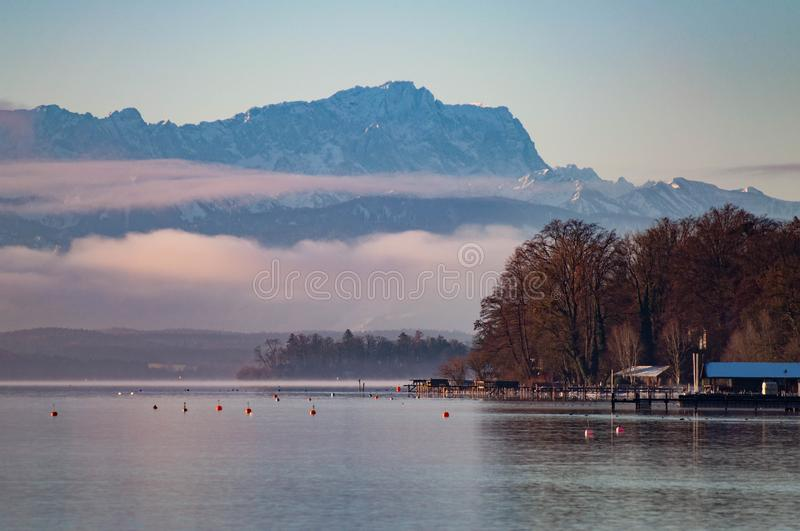 Starnberg - Germany. Zugspitze the highest mountain in Germany from Starnberg lake stock images