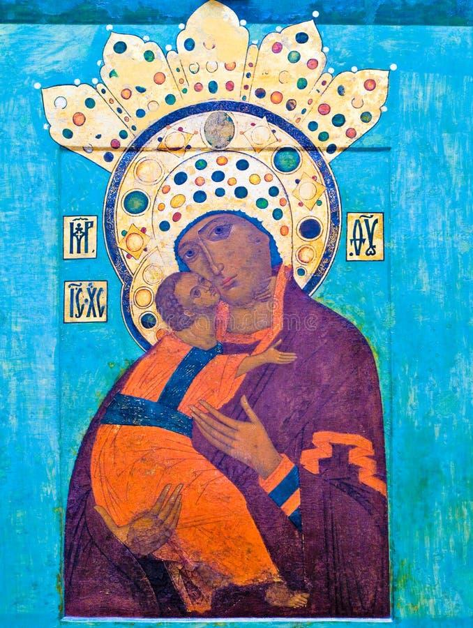 starożytna ikoną Mary Jezusa obraz royalty free