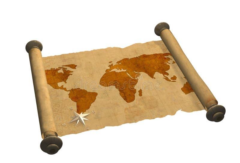 starożytna mapa świata ilustracja wektor