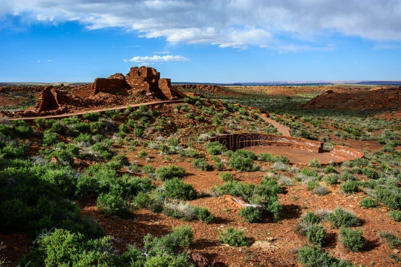 starożytne ruiny Wupatki ruiny piłki sąd Wupatki obywatel Monumen zdjęcia stock