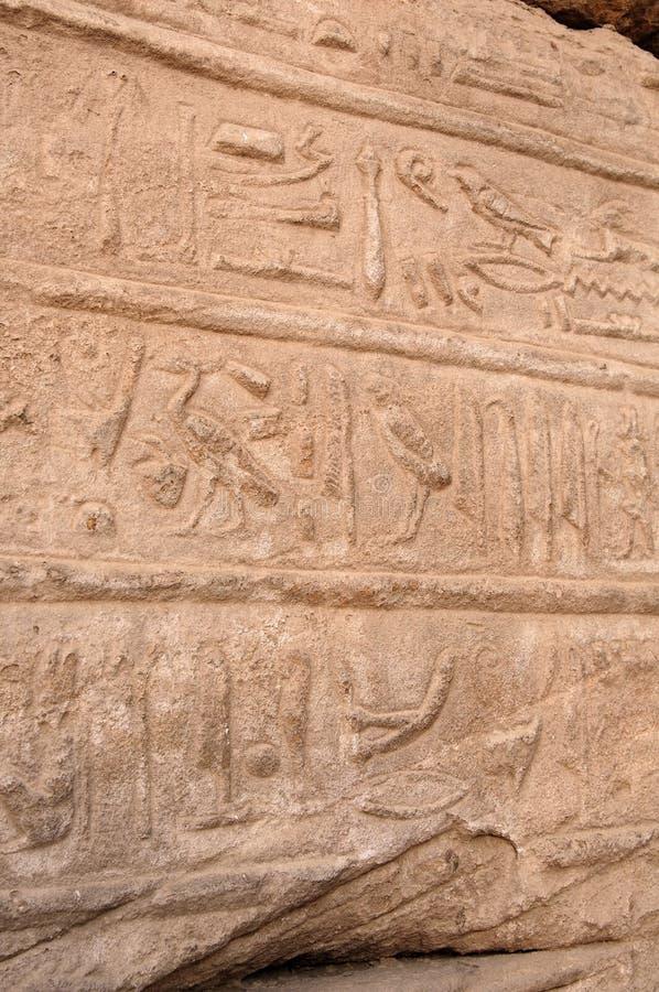 starożytnego Egiptu Kolumny dekorują z rzeźbiącymi hieroglifami egypt karnak serii świątyni thebes zdjęcia stock