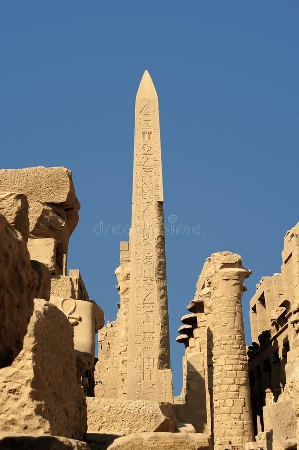 starożytnego Egiptu Kolumny dekorują z rzeźbiącymi hieroglifami egypt karnak serii świątyni thebes fotografia royalty free