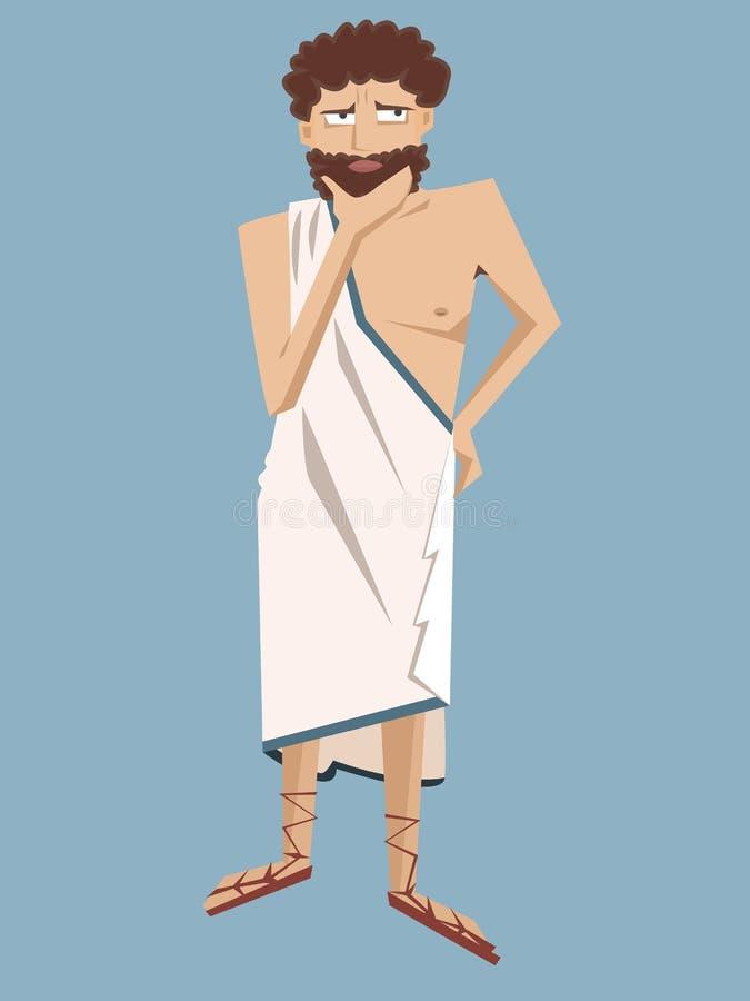 Starożytnego Grka filozofa wektoru kreskówka ilustracja wektor