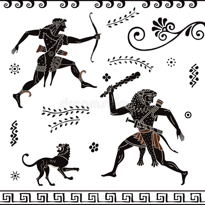Starożytnego Grka obraz Ceramiczna sztuka Stylizowane starożytny grek postacie Apollon hercules ilustracji