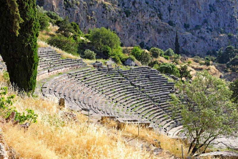 Starożytnego Grka Theatre, sanktuarium Apollo, Delphi, Grecja obrazy royalty free