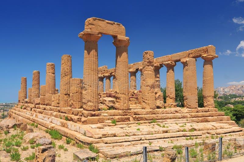 Starożytny Grek świątynia Juno Agrigento Sicily Włochy obrazy stock