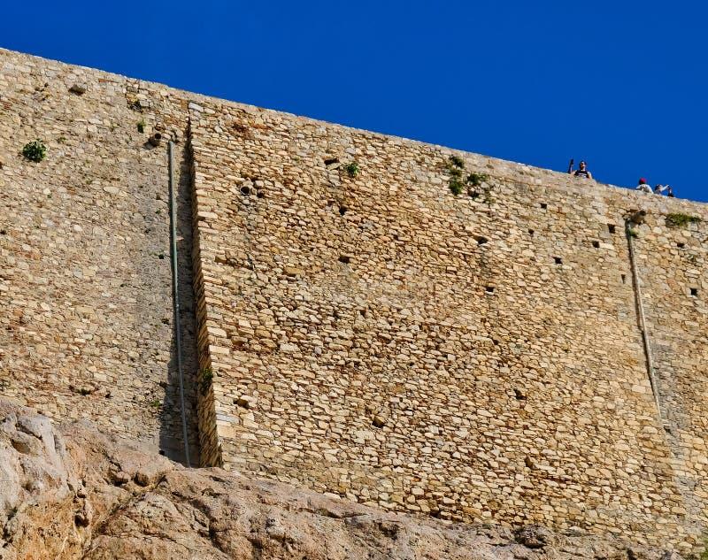 Starożytny Grek Kamienne ściany akropol, Grecja fotografia stock
