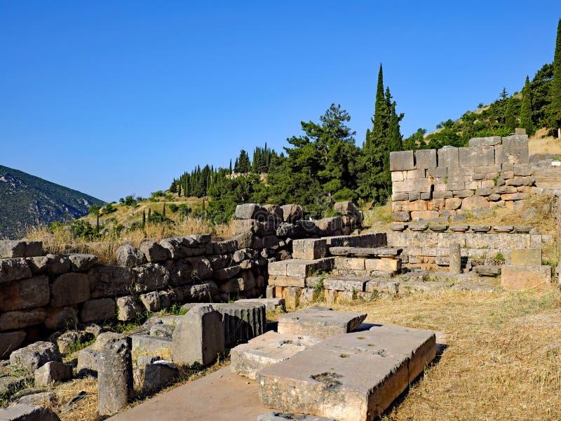 Starożytny Grek ruiny, sanktuarium Apollo, Delphi, Grecja fotografia royalty free