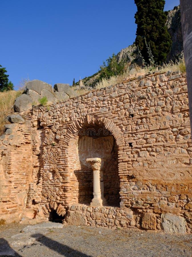 Starożytny Grek ruiny, sanktuarium Apollo, Delphi, Grecja obraz royalty free