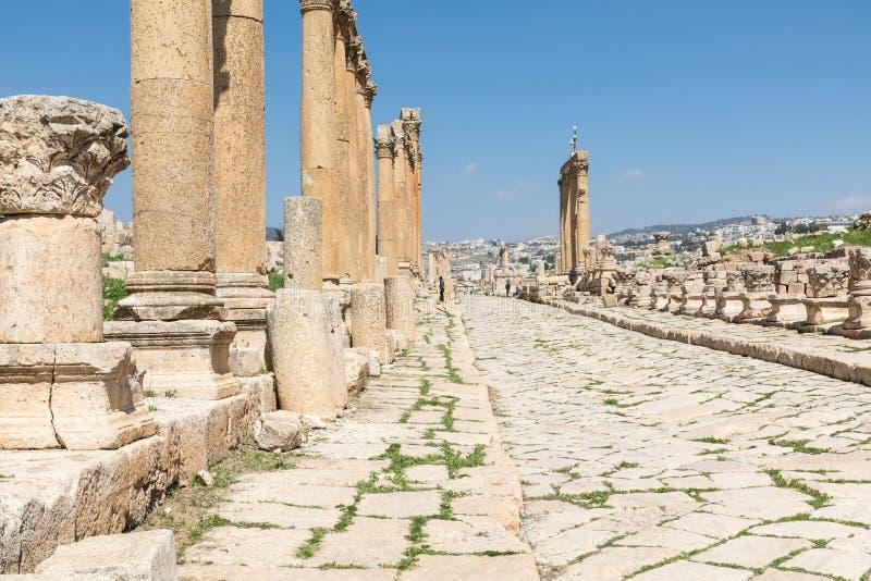 starożytny jerash Ruiny rzymianina miasto Gera przy Jordania zdjęcie royalty free