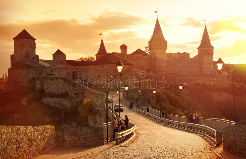 starożytny zamek Kamenetz-Podolsk, Ukraina obrazy royalty free