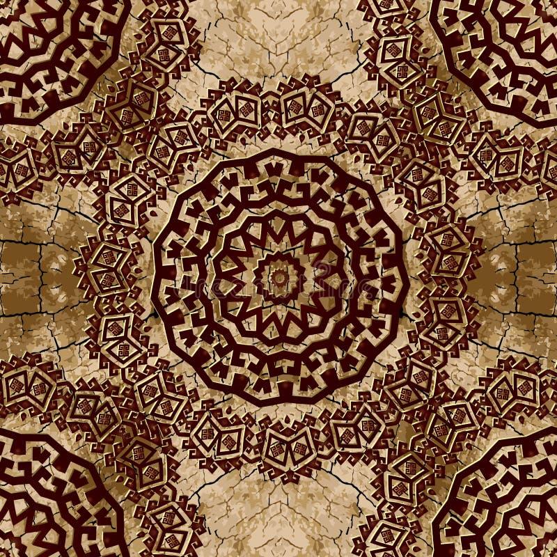 Starożytnych Grków wektorowych mandalas bezszwowy wzór Stary krakingowy textured tło Grunge powt?rki t?o Round grka kwiecisty klu royalty ilustracja