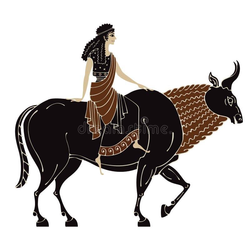 Staro?ytny Grek mitologia Treft Europa zeus Ceramiczna sztuka zdjęcia stock