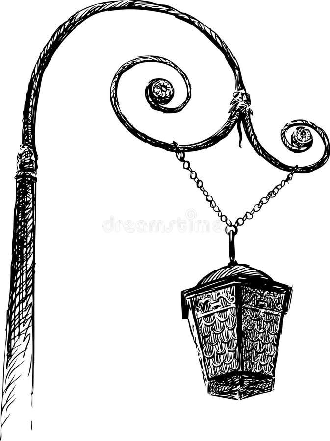 Staromodna lampa ilustracji
