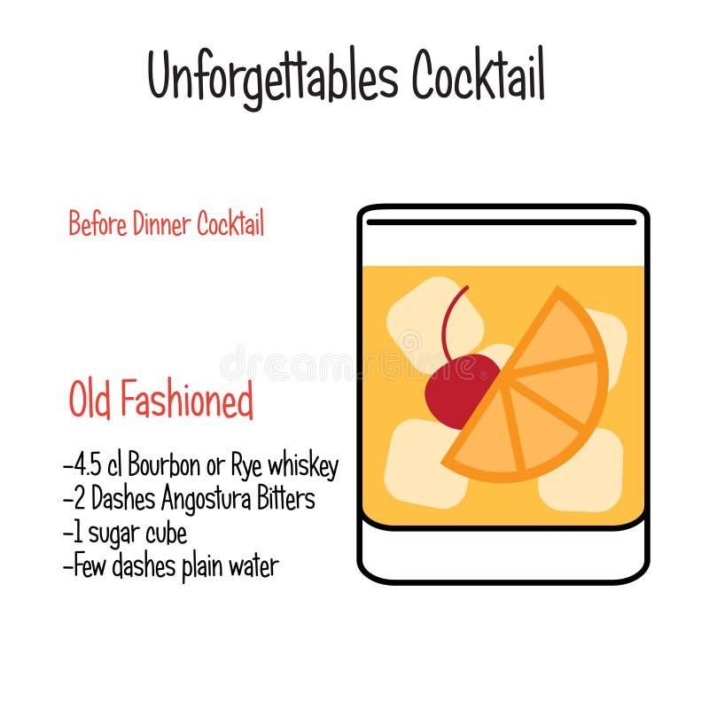 Staromodnego alkoholicznego koktajlu wektorowy ilustracyjny przepis odizolowywający ilustracja wektor