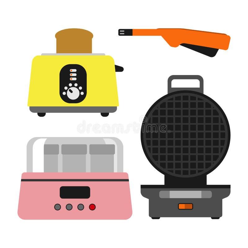 Staromodnego opiekacza kitchenware urządzenia wektorowego ilustracyjnego gorącego symbolu elektryczny narzędzie i domowy jogurt e royalty ilustracja