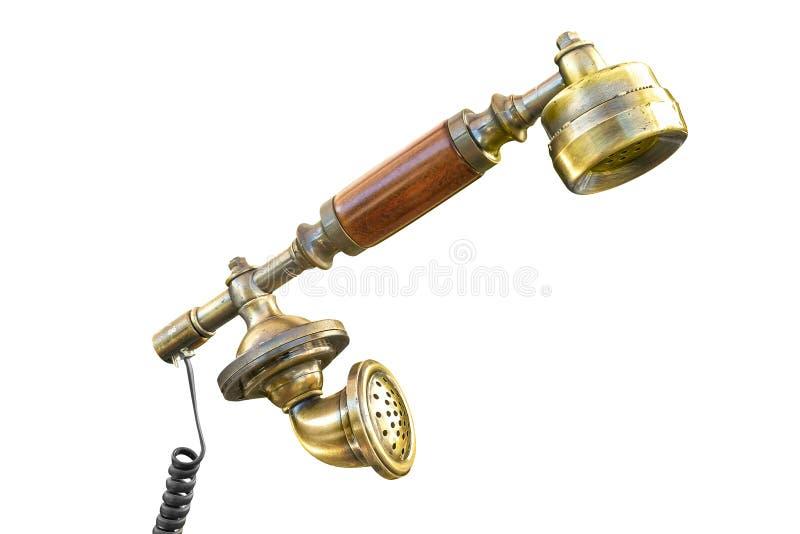 Staromodnego rocznika telefoniczny odbiorca z drutem obrazy stock