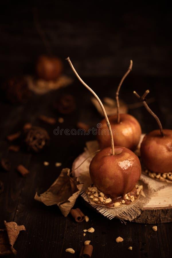 Staromodni toffee jabłka z gałązka kijami Jesień nastroju tło obrazy royalty free