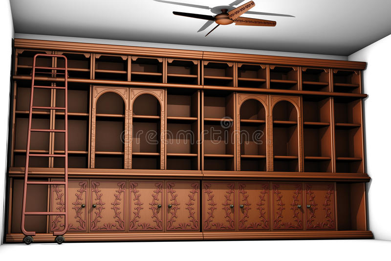 Staromodny drewniany bookcase ilustracja wektor