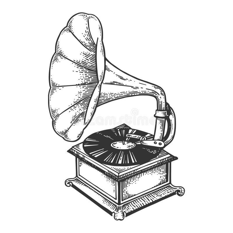 Staromodny gramofonowy rytownictwo wektor ilustracji
