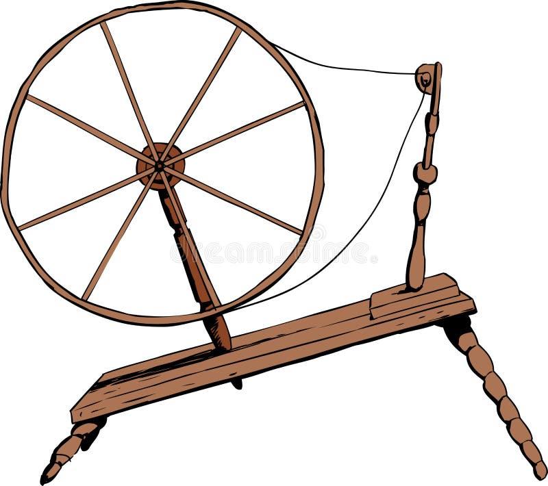 Staromodny Przędzalniany koło ilustracja wektor